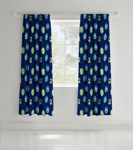 Catherine Lansfield Football Blue Pencil Pleat Curtains